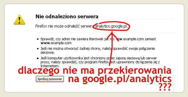 Google Analytics powinno mieć przekierowanie