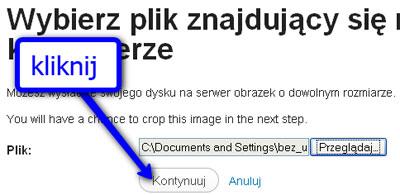 Zatwierdź wgrywanie obrazka przezkliknięcie Kontynuuj