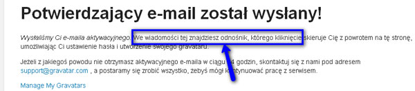 System wysyła na Twój adres mailowy wiadomość