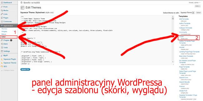 Edycja stopki w WordPressie