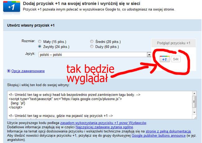 Definiowanie wyglądu przycisku Google +1