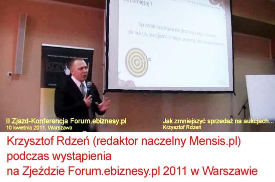 Krzysztof Rdzeń wczasie wystąpienia naZjeździe forum e-biznesu