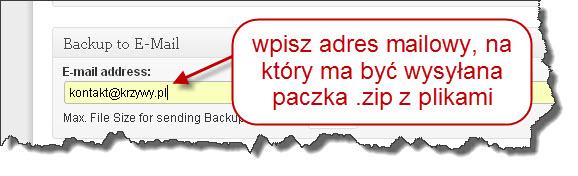 Podaj adres mailowy do wysyłania plików