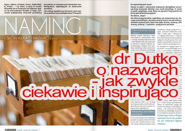 Artykuł Macieja Dutko onazwach, czyli namingu