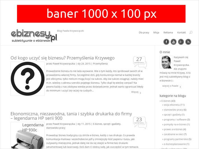 Baner - belka sponsorska - 1000 x 100 px