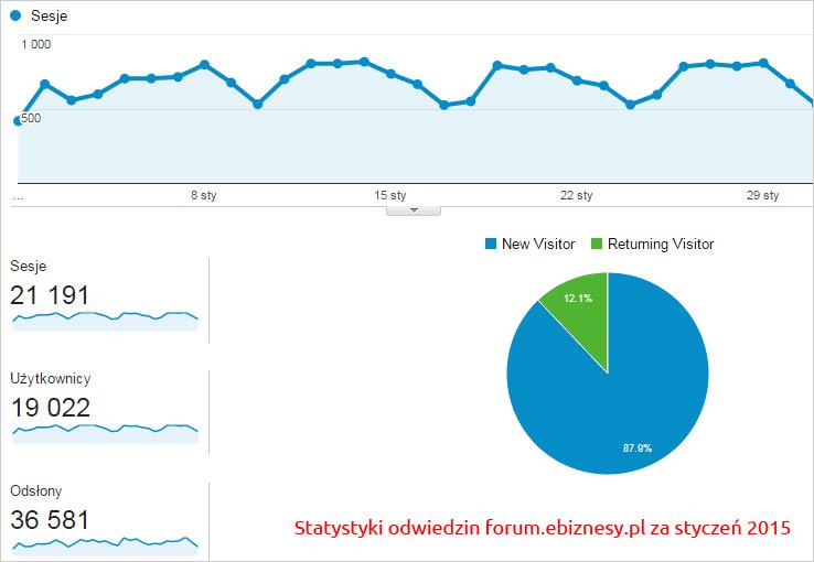 Statystyki wizyt, sesji forum e-biznesu