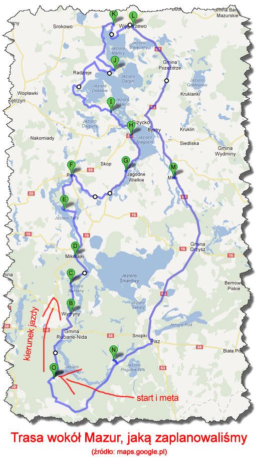 Trasa rowerem wokół Mazur