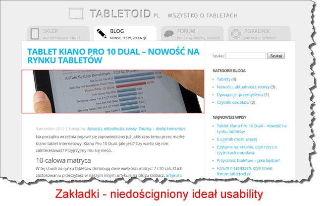 Zakładki w serwisie tabletoid.pl