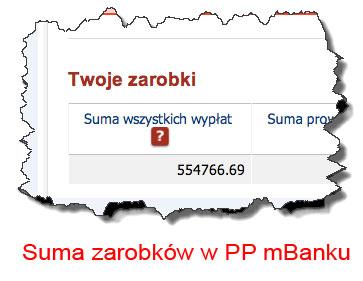Suma zarobków Damiana w PP mBanku