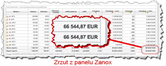 Zanox - zarobki Damiana wPP