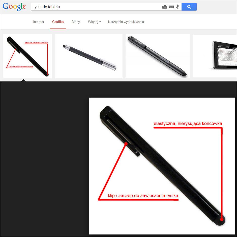 Zdjęcie rysika w wyszukiwarce grafiki Google