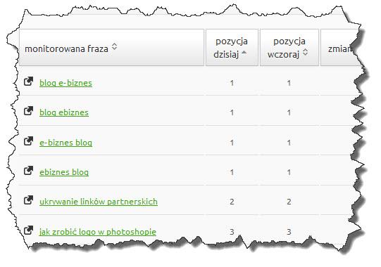 Pozycje w Google bloga o e-biznesie
