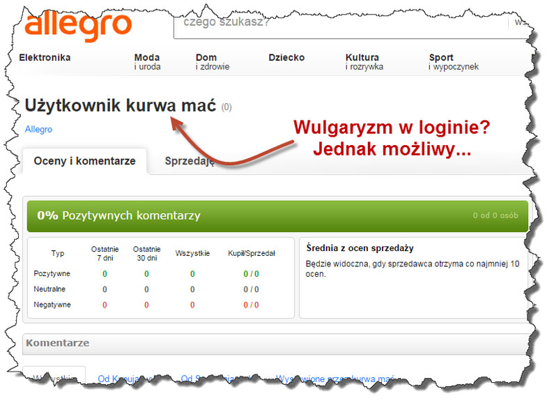 Wulgarny login Allegro