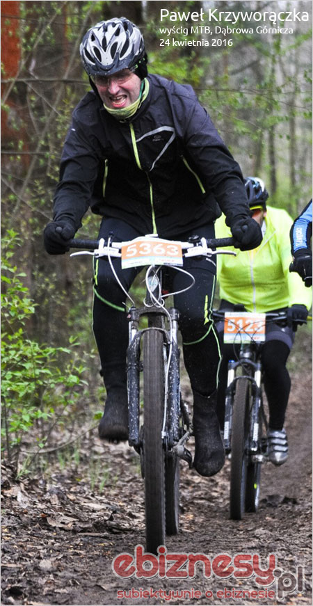 Paweł Krzyworączka na wyścigu MTB w Dąbrowie Górniczej 2016